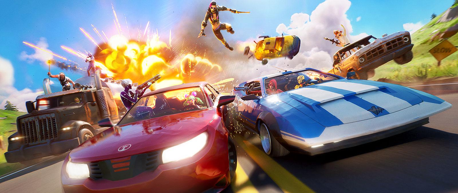Personagens do Fortnite dirigem lado a lado em carros de corrida, com uma explosão no fundo.