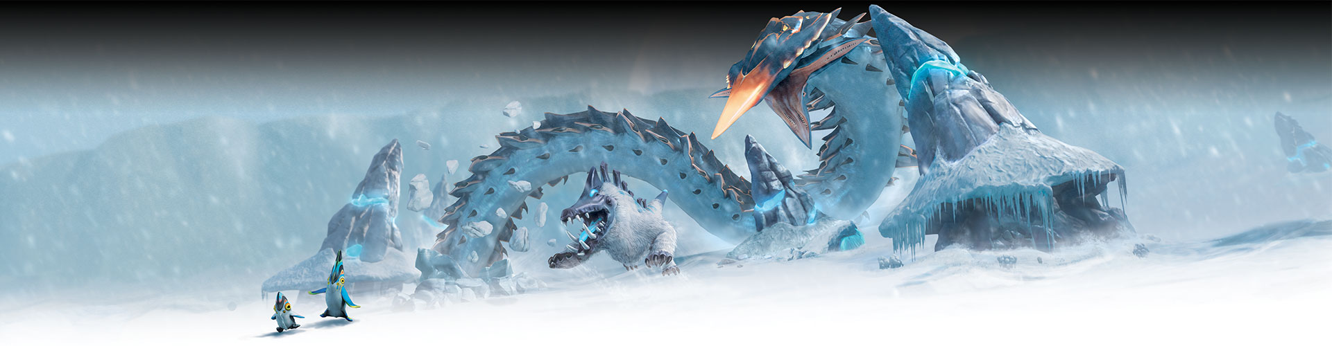 A winter landscape with a giant snow worm, an alien monster dog, and two creatures that look vaguely like penguins.