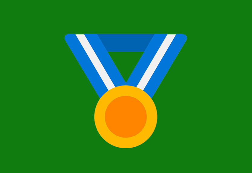 Microsoft Rewards. An illustration of a medallion hanging from a lanyard.