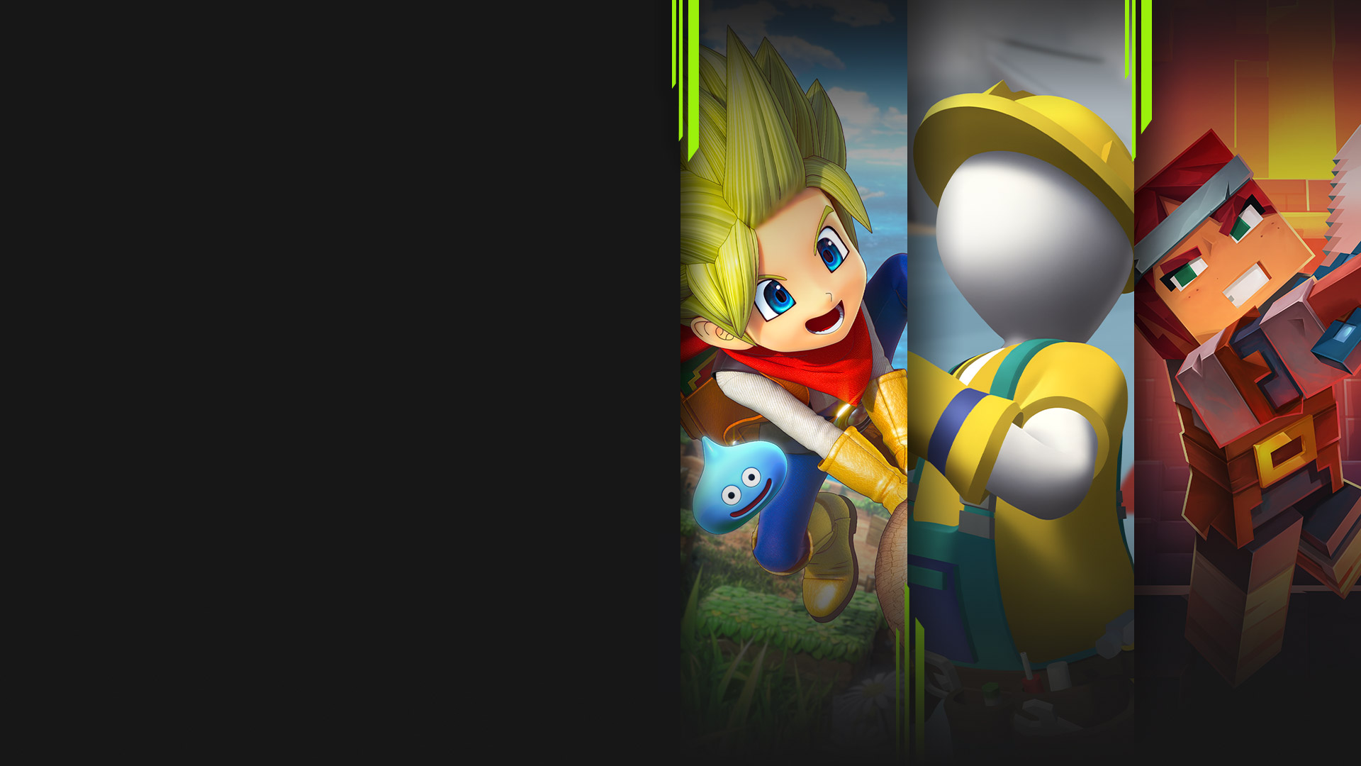 Game art from multiple Xbox Game Pass games available on PC including Dragon Quest Builders 2, Human Fall Flat, Minecraft Dungeons and Among Us.