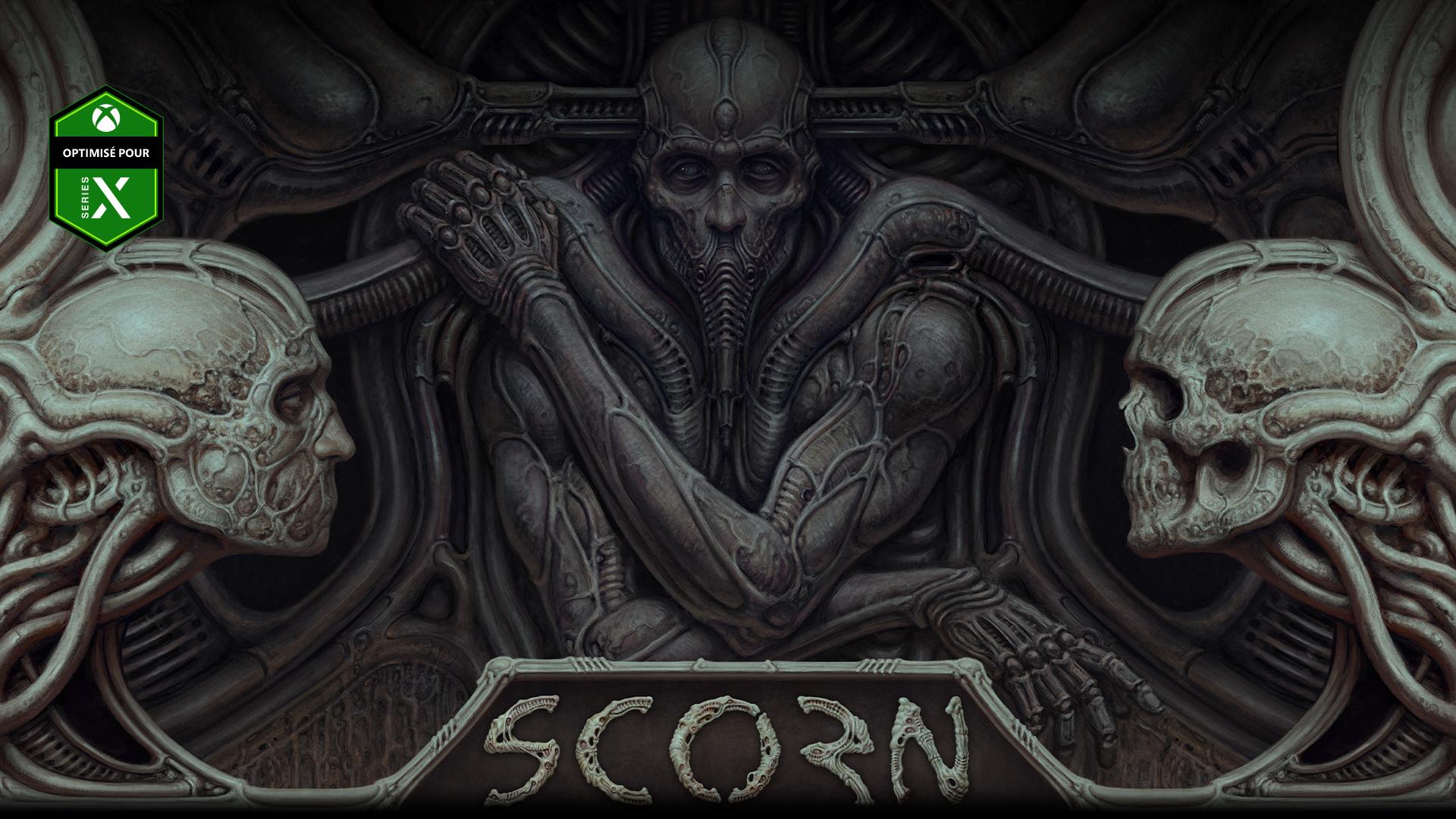 Personnage de Scorn encastré dans un mur avec deux crânes.