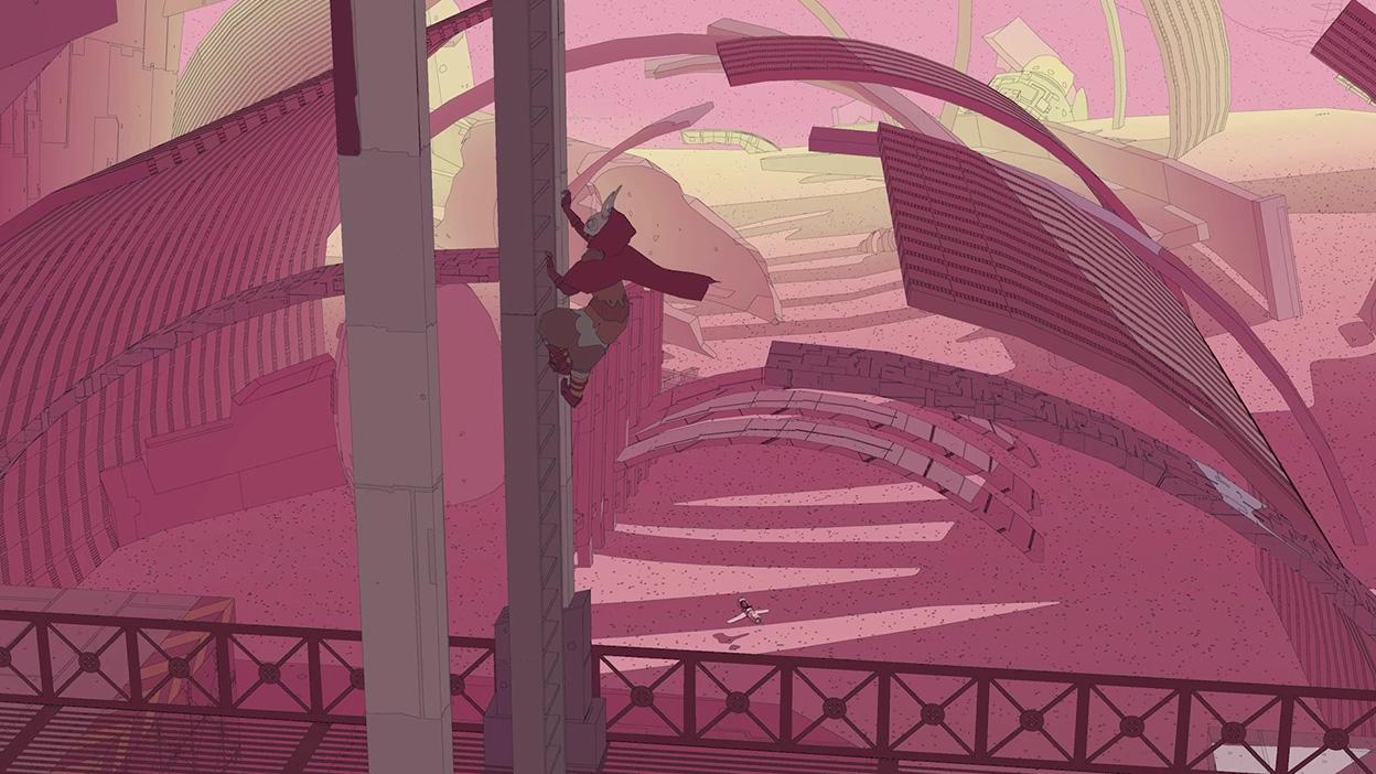 Sable sa šplhá na stĺp v opustenej budove