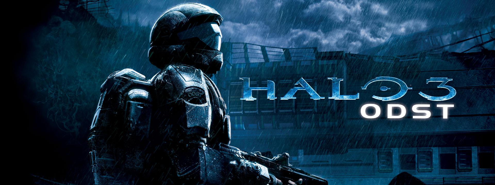 Halo 3 ODST, Halo soldier stands under pouring rain, abandoned building background