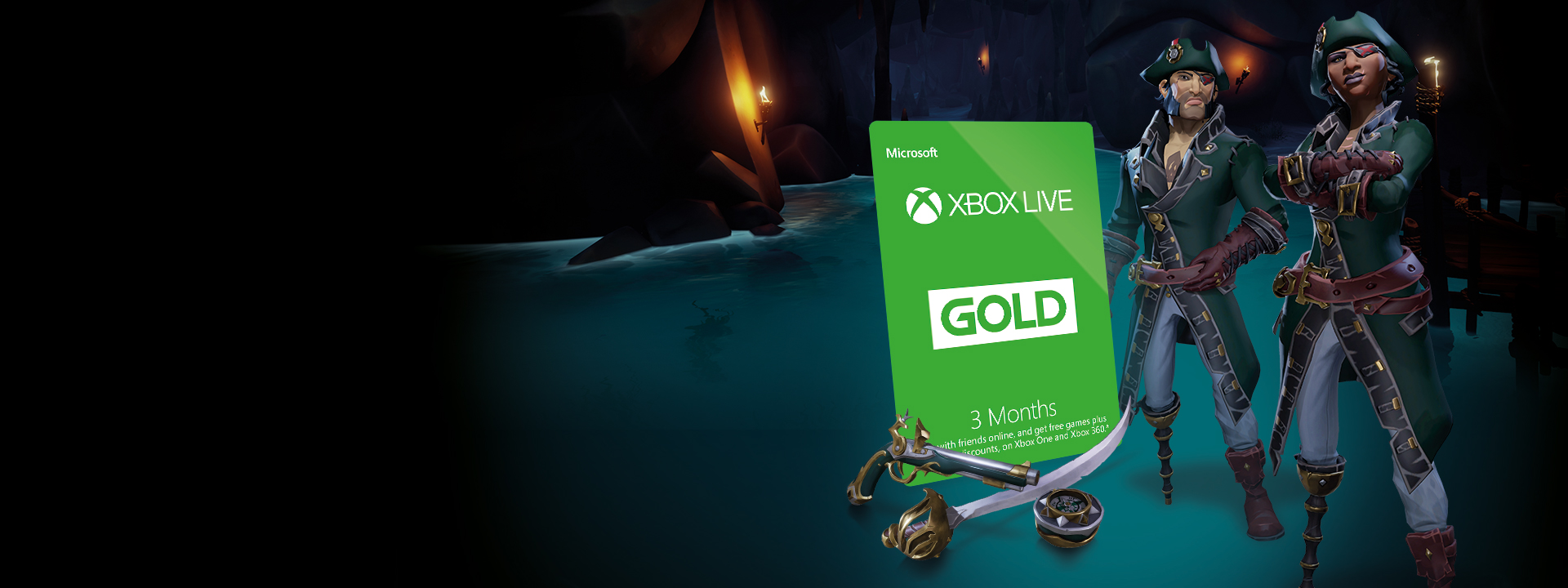 3 Month Xbox Live Membership card next to 2 Sea of Thieves Pirates