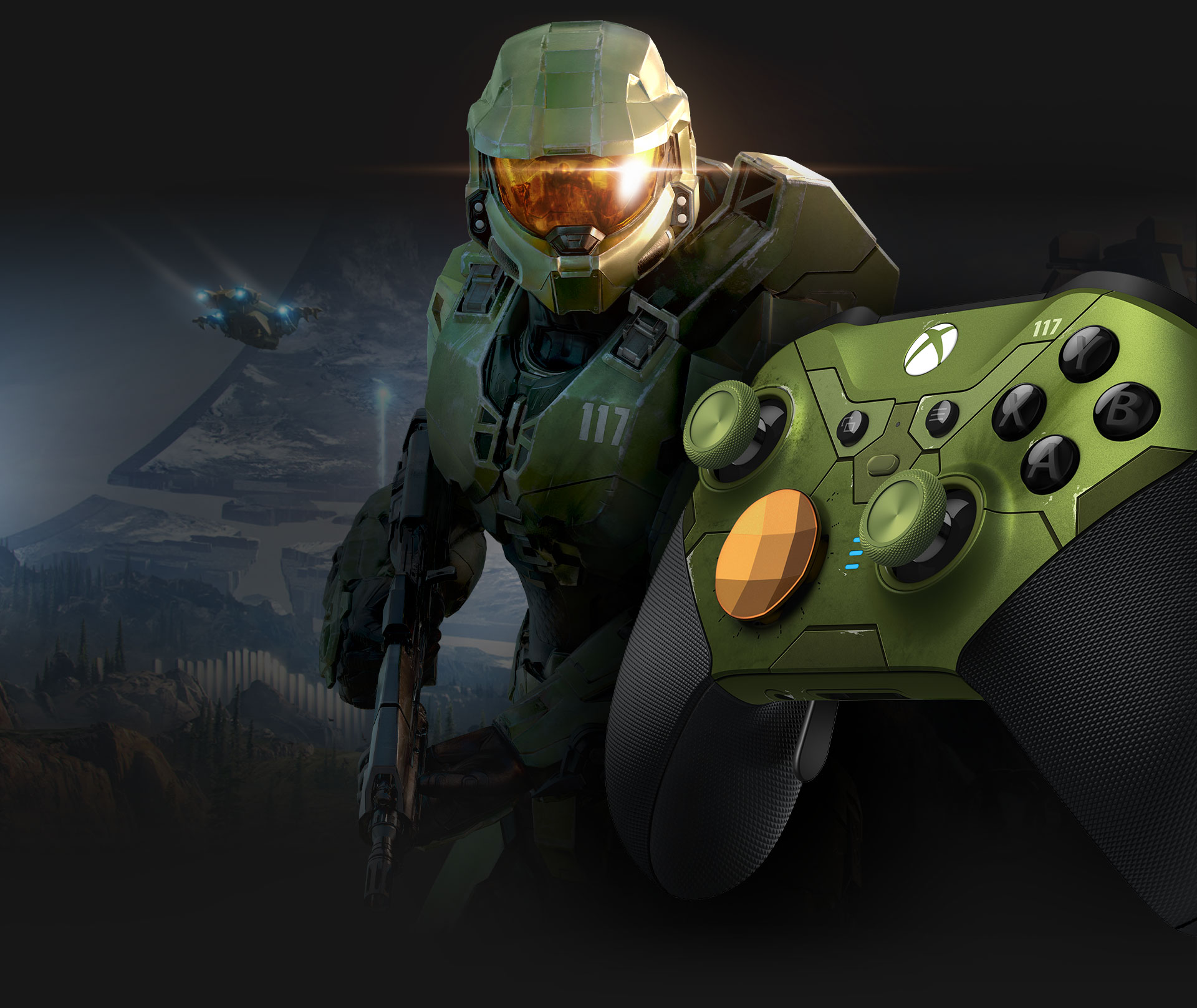 Left angle of Xbox Elite Wireless controller series 2 Halo Infinite with Master Chief