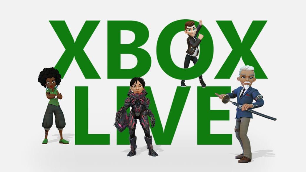 Xbox Live-Logo mit vier Avataren darum herum