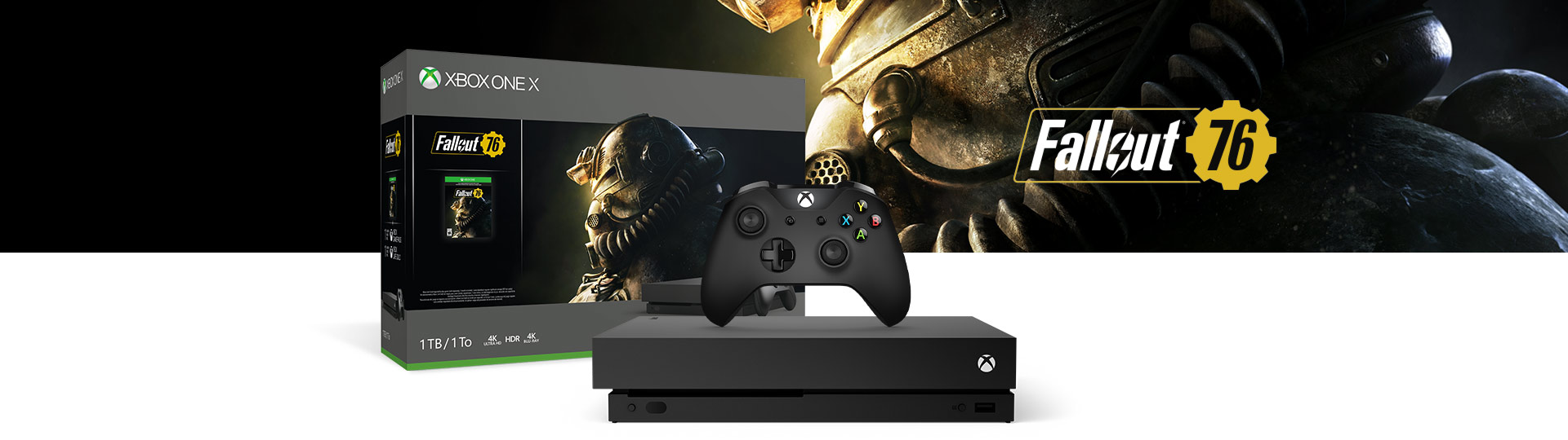 Xbox One X and Controller next to the Xbox One X Fallout 76 1 terabyte product box