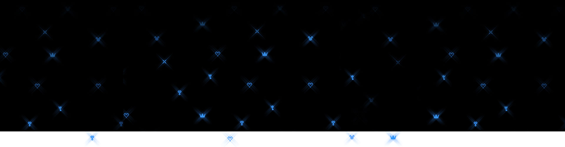 Background of bright blue Disney and Kingdom Hearts logos
