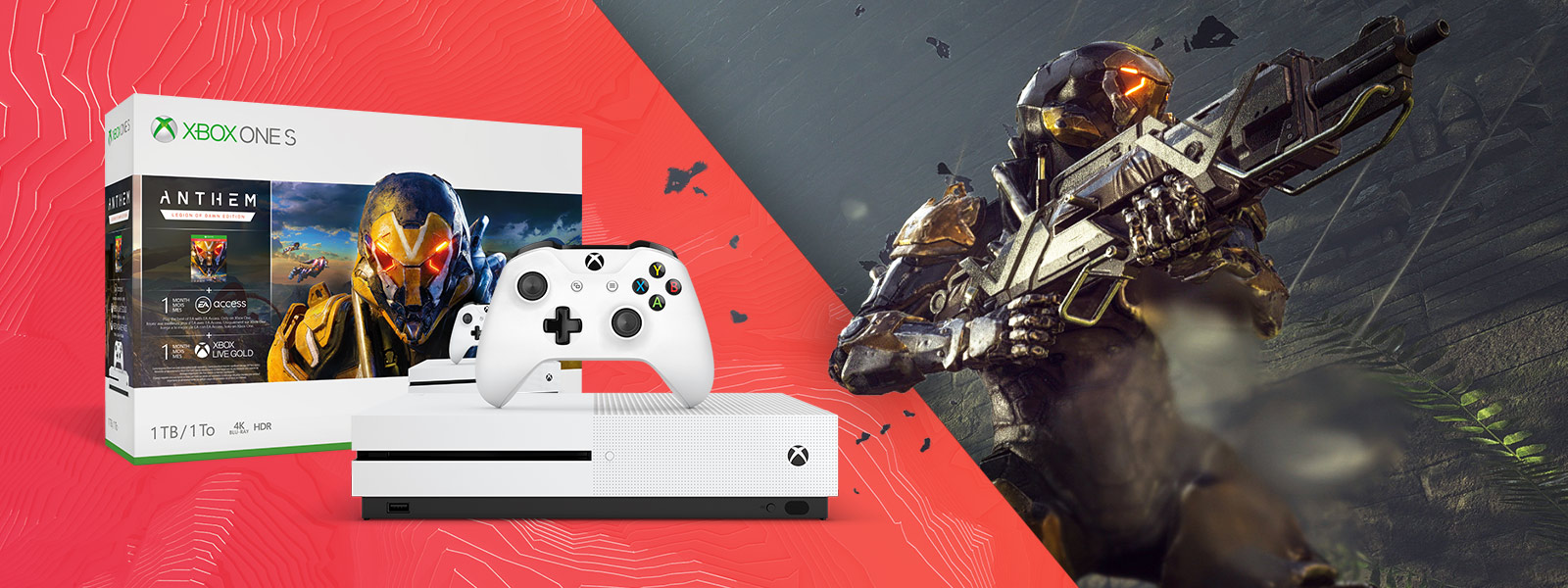 Box and console shot of Xbox One S Anthem Bundle (1TB), Ranger Javelin shoots in the background