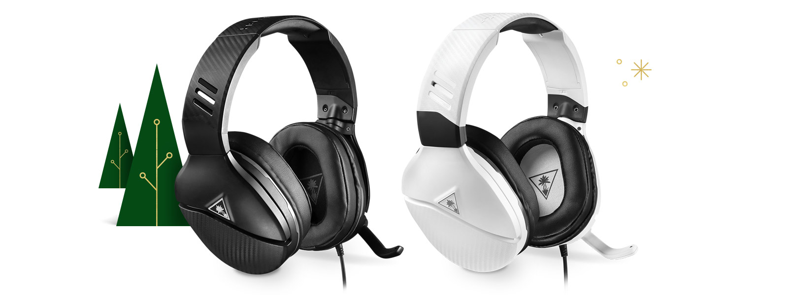 Two headsets, one black, one white, with trees in the background.