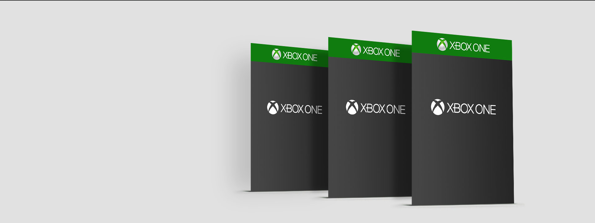 Three right-angled blank box shots each bearing the Xbox One logo
