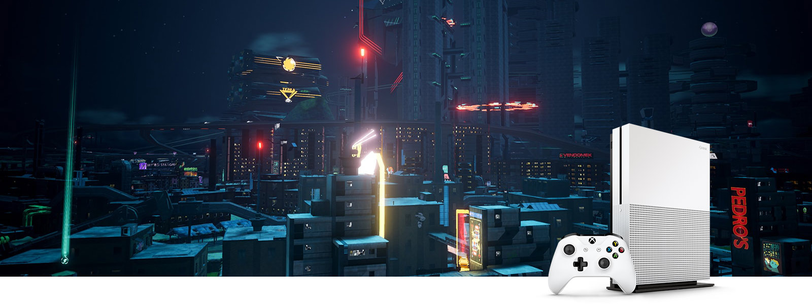 Crackdown 3 cityscape screenshot and Xbox One S vertical console with controller, viewed without high dynamic range (HDR)