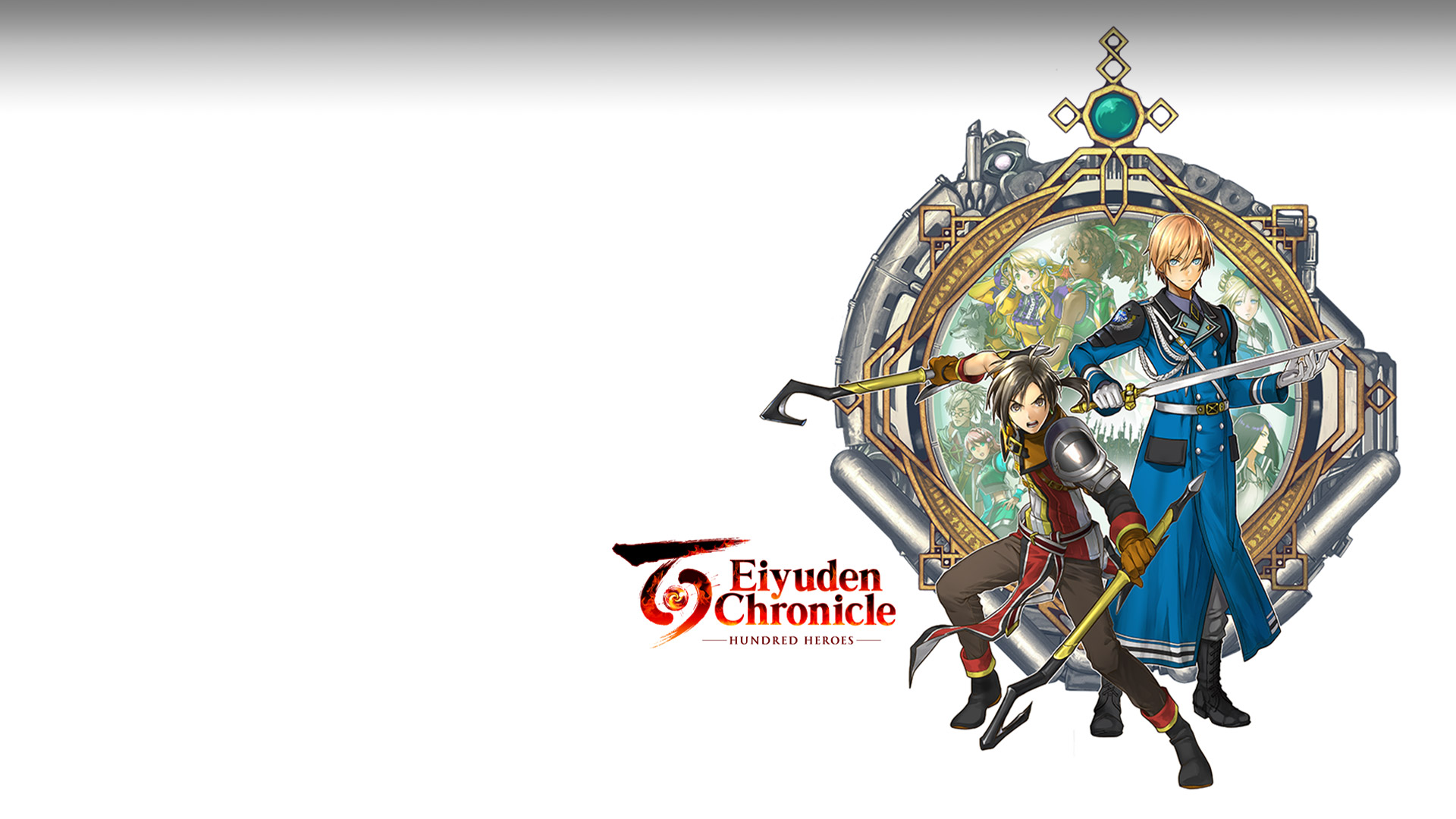 Eiyuden Chronicle: Hundred Heroes. Two characters with weapons standing in front of an amulet-like background with other characters in the centre.