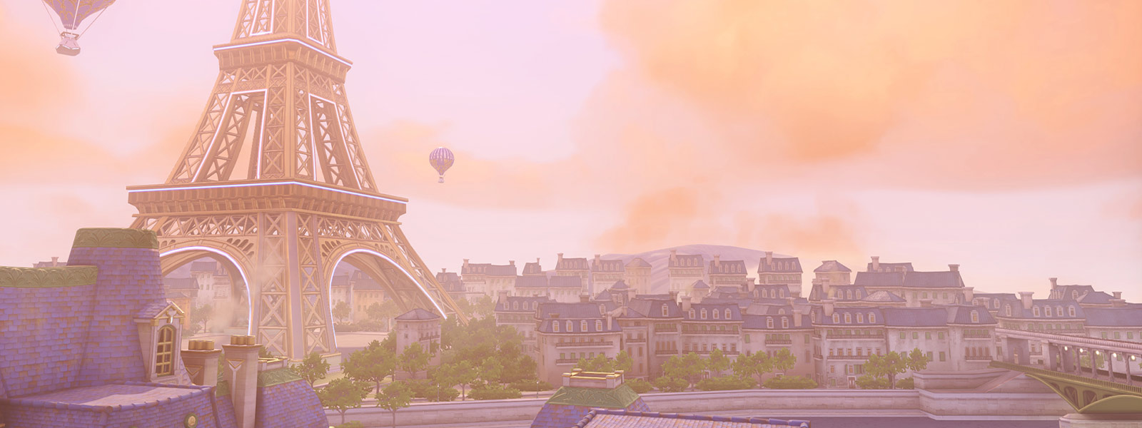 Paris backdrop with the Eiffel tower and hot air balloons
