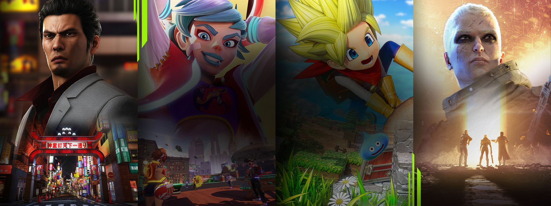 A selection of games available with Xbox Game Pass including Yakuza Remastered Collection, Knockout City, DRAGON QUEST BUILDERS 2, and Outriders.