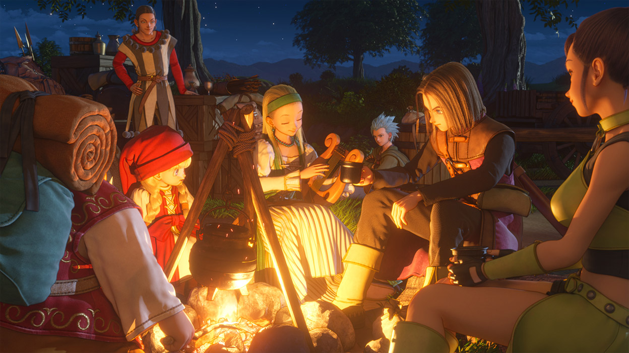 Sept membres du groupe s'assoient autour d'un feu de camp en profitant de la compagnie les uns des autres