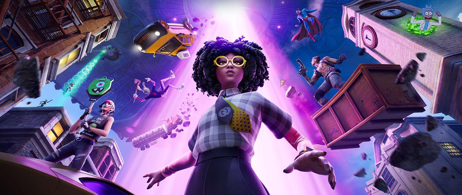 Fortnite, Uma jovem de óculos amarelos prepara-se enquanto um raio de tração brilhante levanta personagens no ar atrás dela.