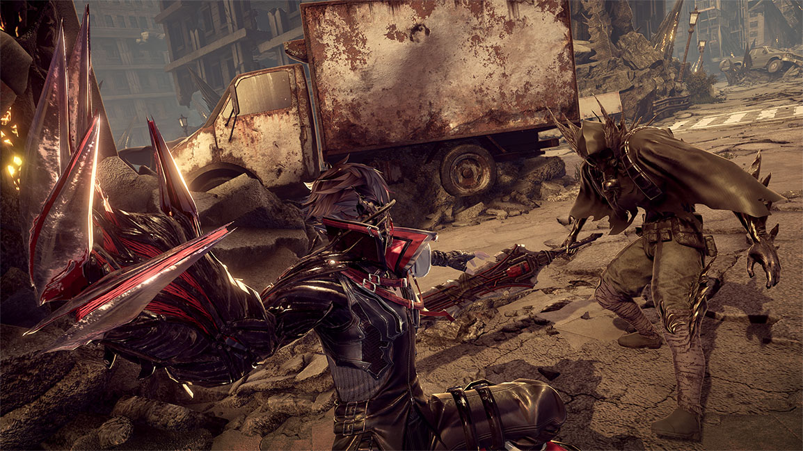 Code Vein character prepares to swing claws at enemy, the Lost