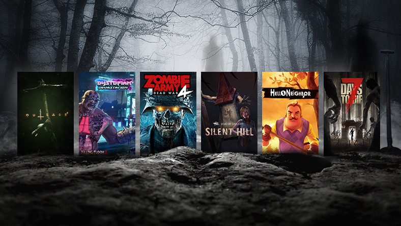 A collection of games that are part of the Un-Halloween Horror Sale, including Outlast, Zombie Army 4, and Silent Hill 4