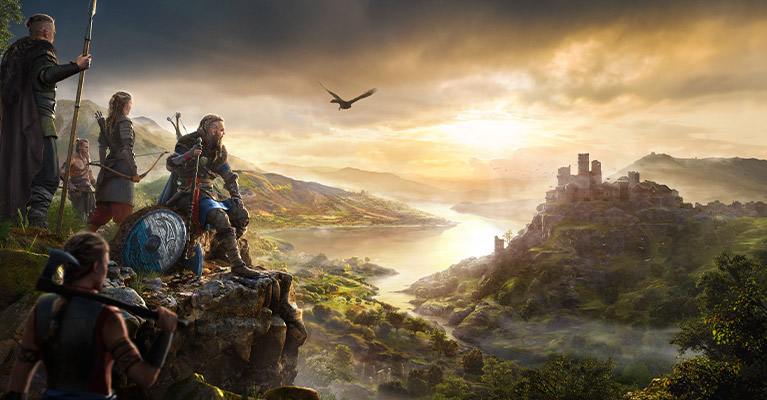 Legendary Viking raider Eivor looks out across a beautiful vista, composed of a winding river, distant castle and village below. His clan stands behind him, weapons at the ready.