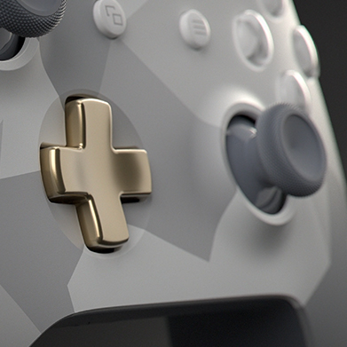 Xbox Design Lab controller featuring a metallic warm gold d-pad