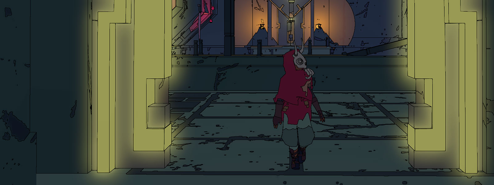 Sable, die durch einen Eingang mit leuchtenden Details geht