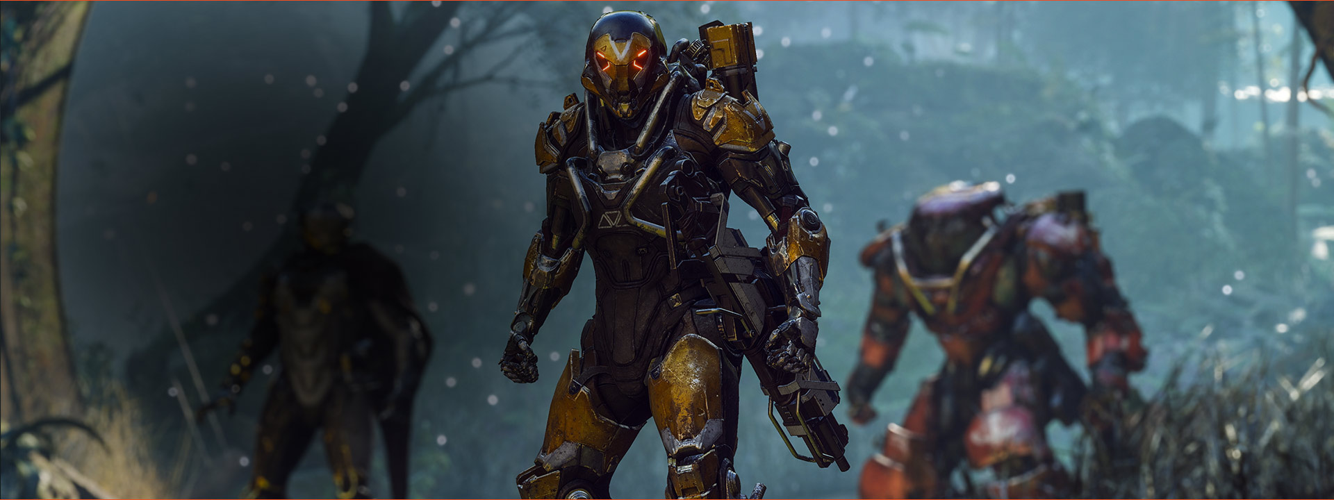 Close-up of 3 characters in exosuits