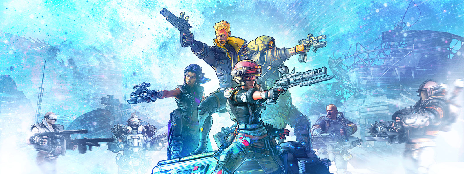 A group of characters point their guns ready for battle.