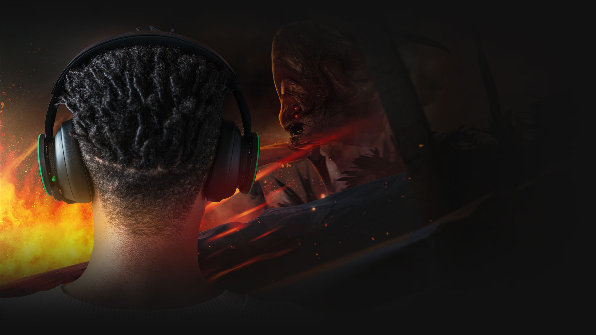 Un hombre, con los Audifonos inalámbricos Xbox puestos, se enfrenta al enjambre en Gears 5: Hivebusters.