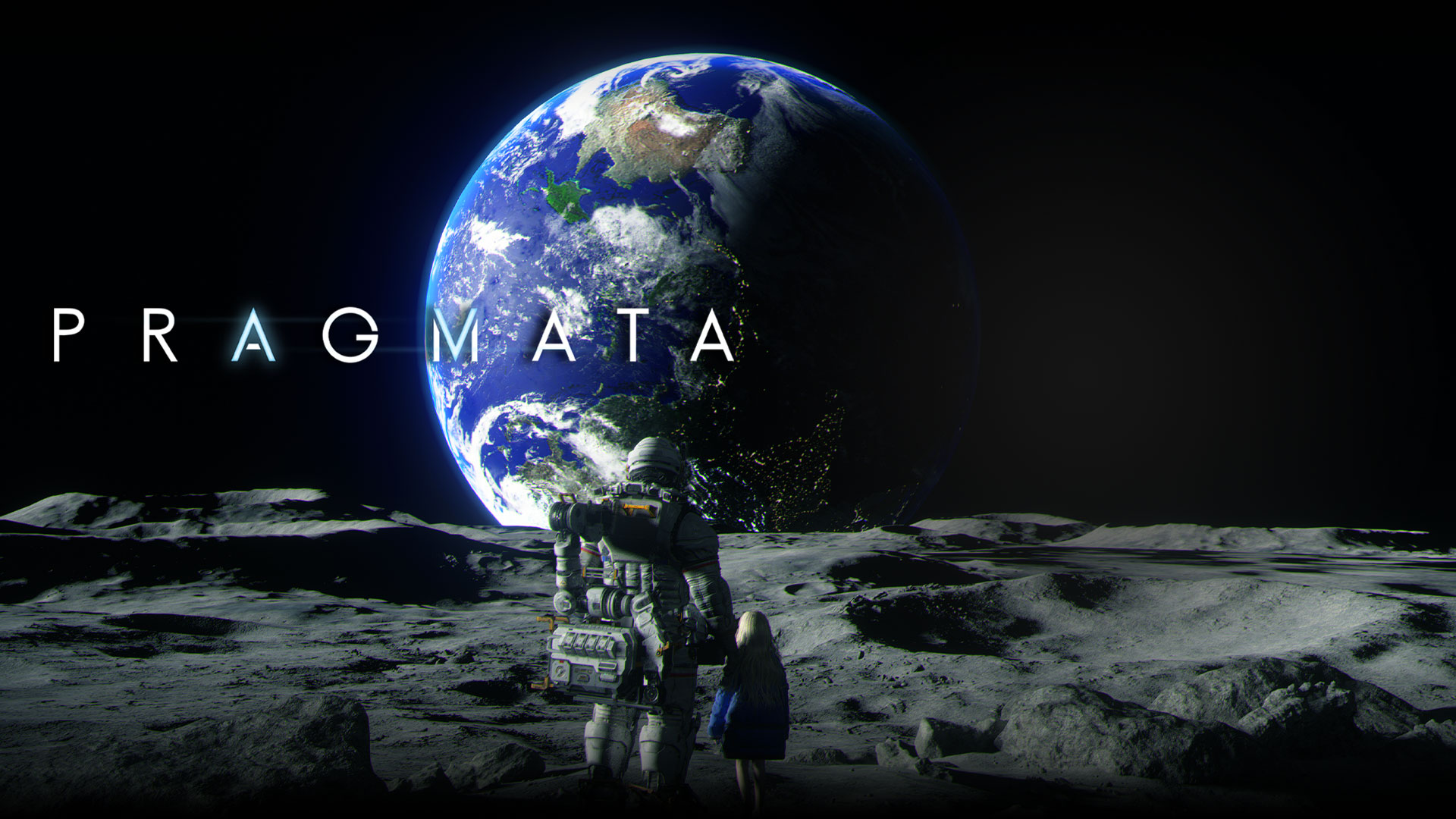 Pragmata, an astronaut and a young girl look at the Earth while standing together on the moon