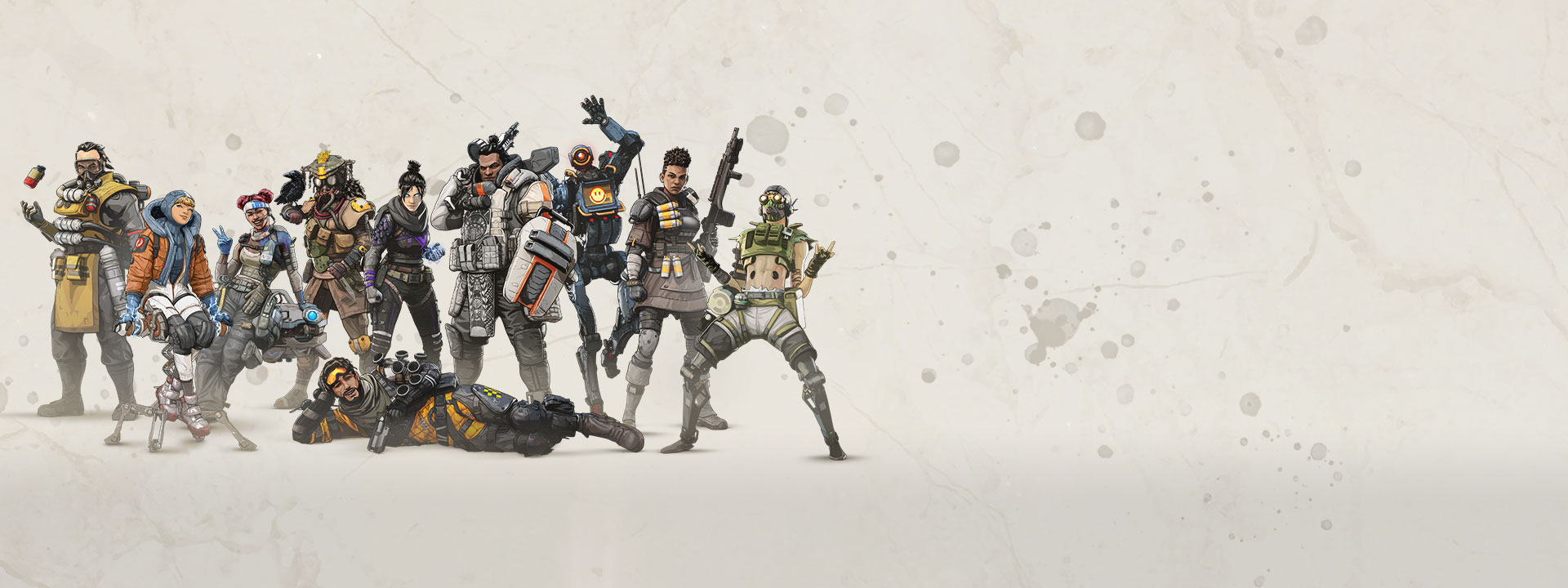 Verschillende Apex Legends personages staan en poseren