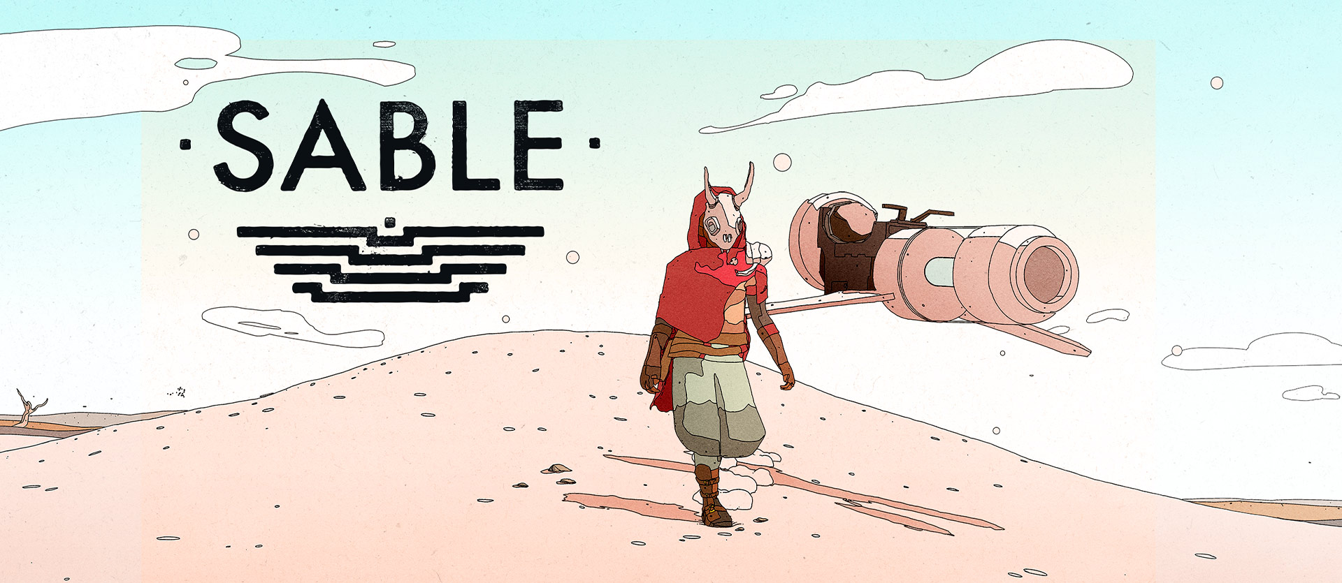 Sable logo, Sable in the desert with a hoverbike