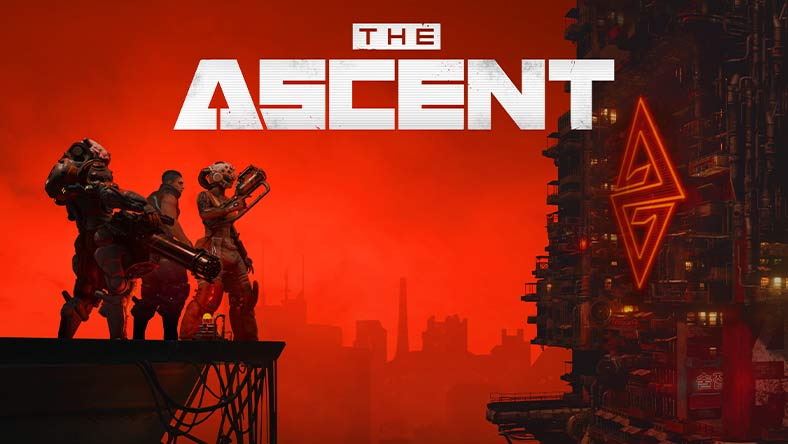 The Ascent. Three heavily armed figures stand over a red city scape. A corporate building with a massive logo looms large.