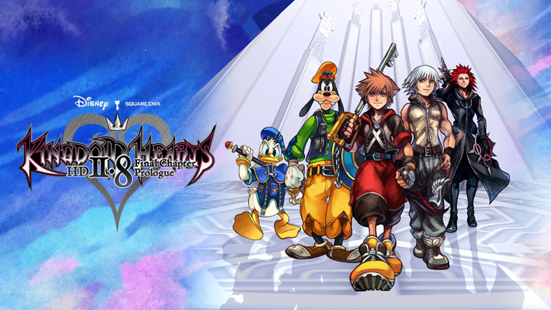 Sora, Donald, Goofy, Riku and Axel walk outside the seats of Organization XIII