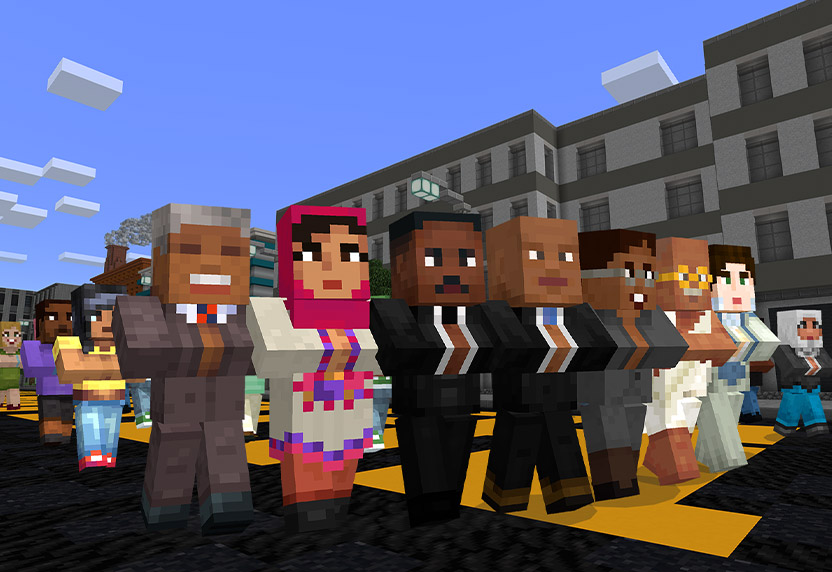 Minecraft: Education Edition. Minecraft depictions of Dr. Martin Luther King Junior and others march in the street.