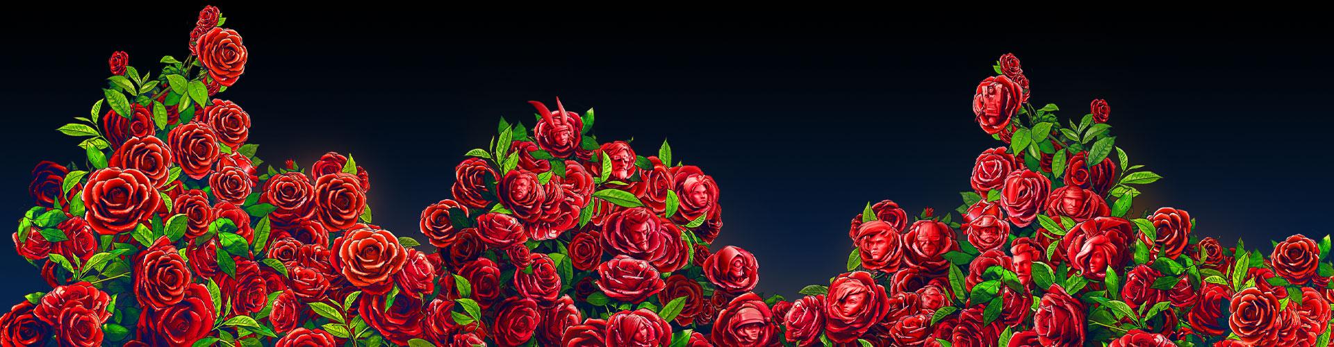 Numerosas rosas con rostro