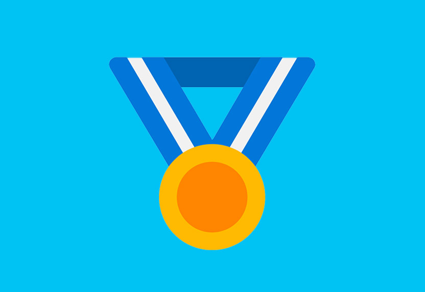 Microsoft Rewards. A medallion hangs from a ribbon.