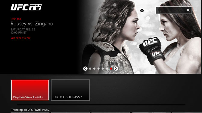 UFC.TV App Homepage screenshot