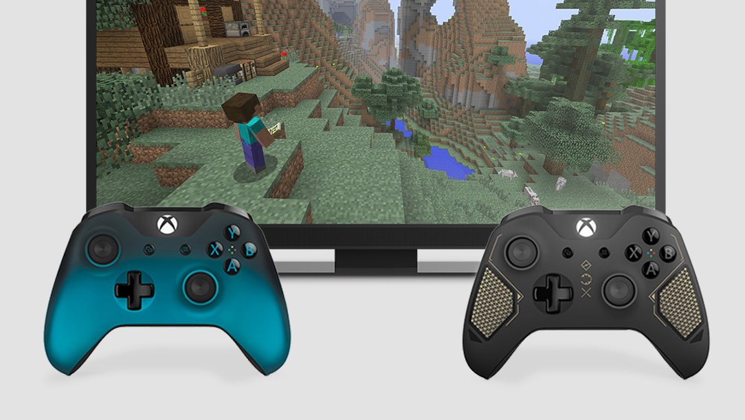 Minecraft gameplay with two controllers displayed
