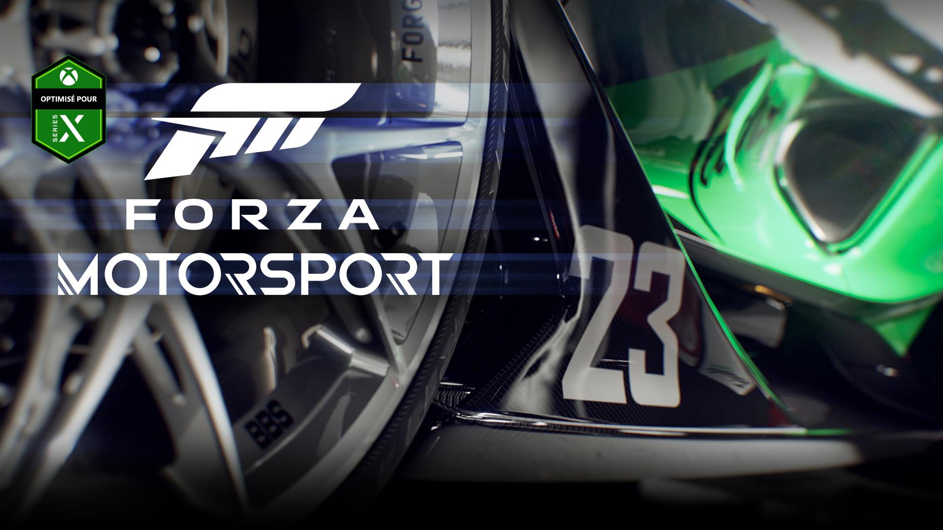 Optimisé pour Xbox Series X, Forza Motorsport, gros plan sur une roue