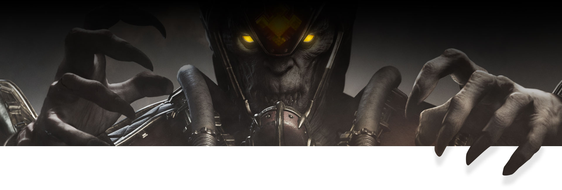 Character with a helmet and glowing yellow eyes reaching