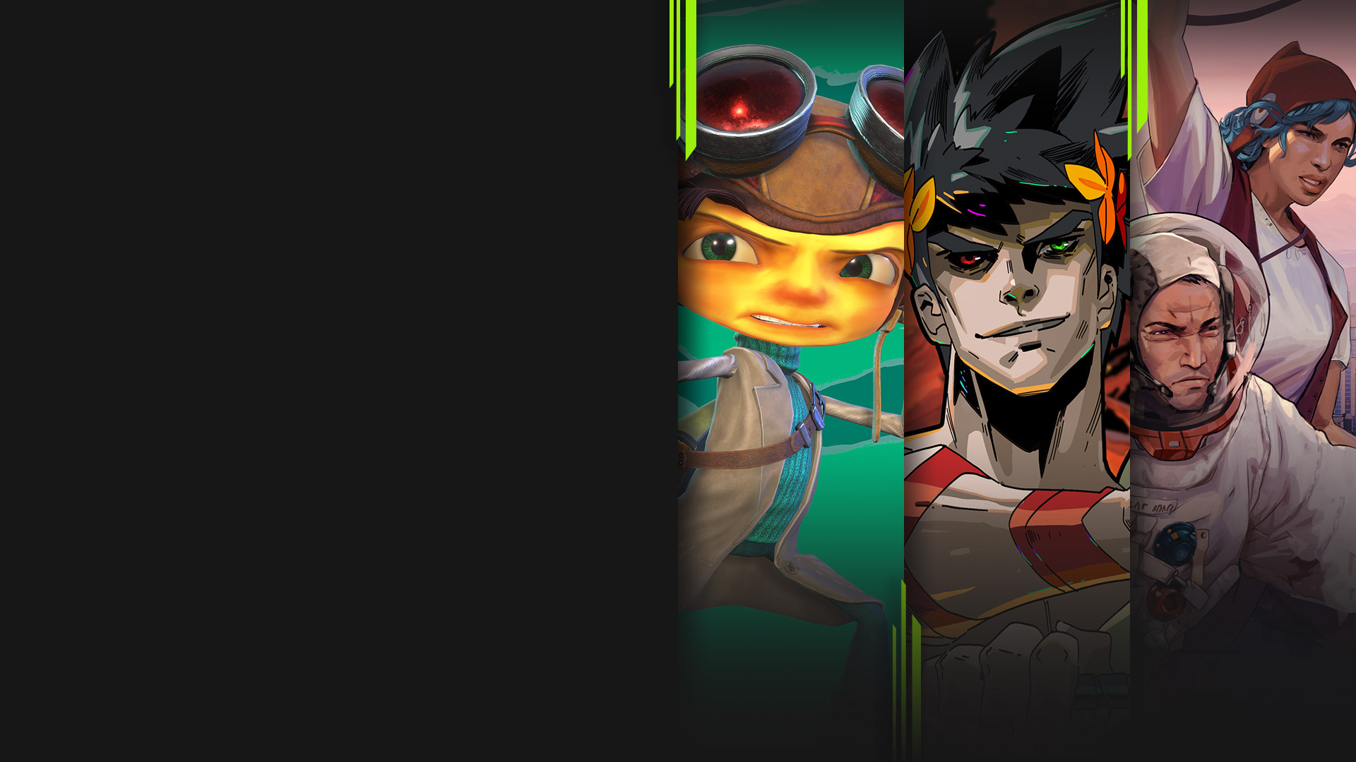 Game art from multiple games available now with Xbox Game Pass including Psychonauts 2, Hades, Humankind and Cris Tales.