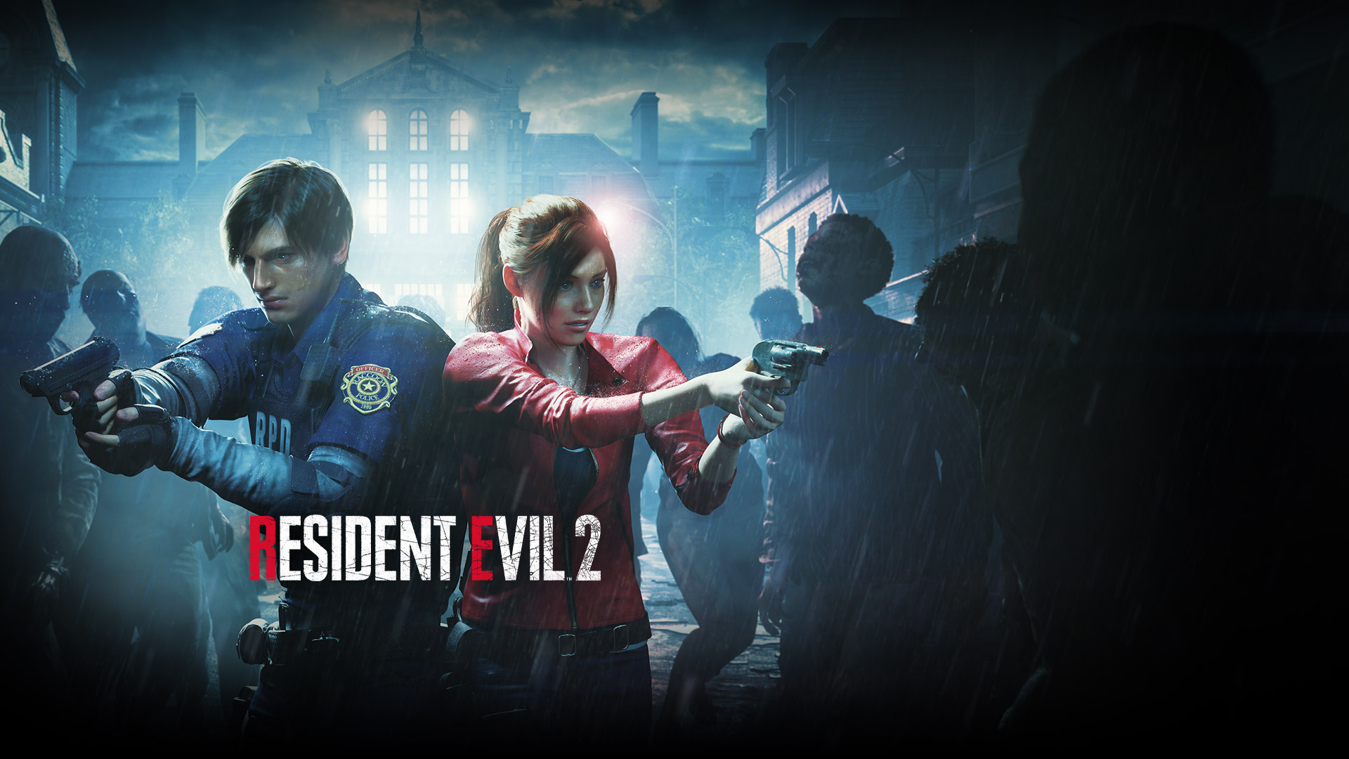 Resident Evil 2, Leon Kennedy and Claire Redfield stand side by side holding up guns at surrounding zombies