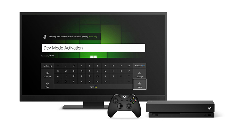 A TV screen showing Xbox dev mode activation