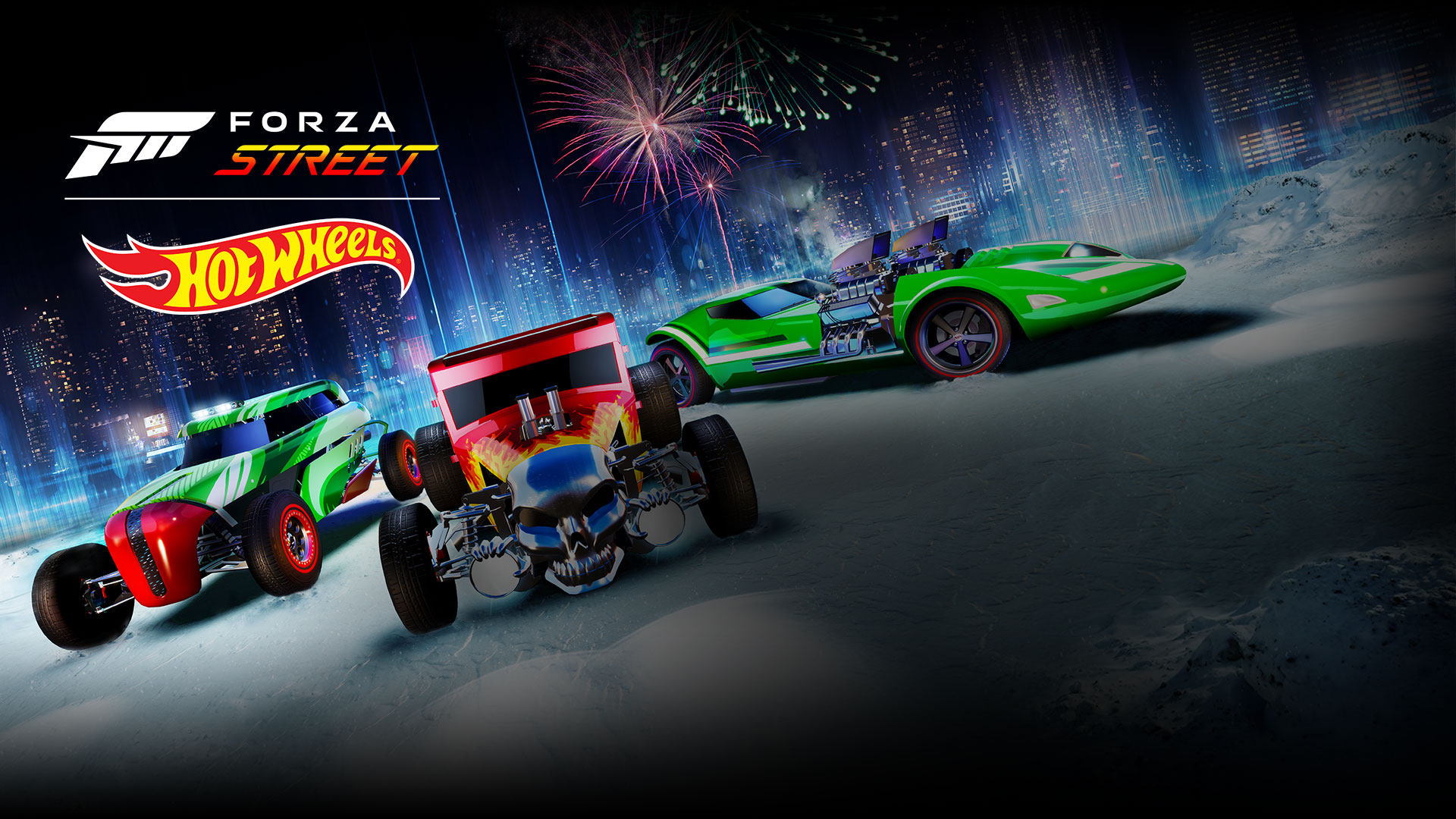 Forza Street, Hot Wheels, line-up of legendary cars in the background