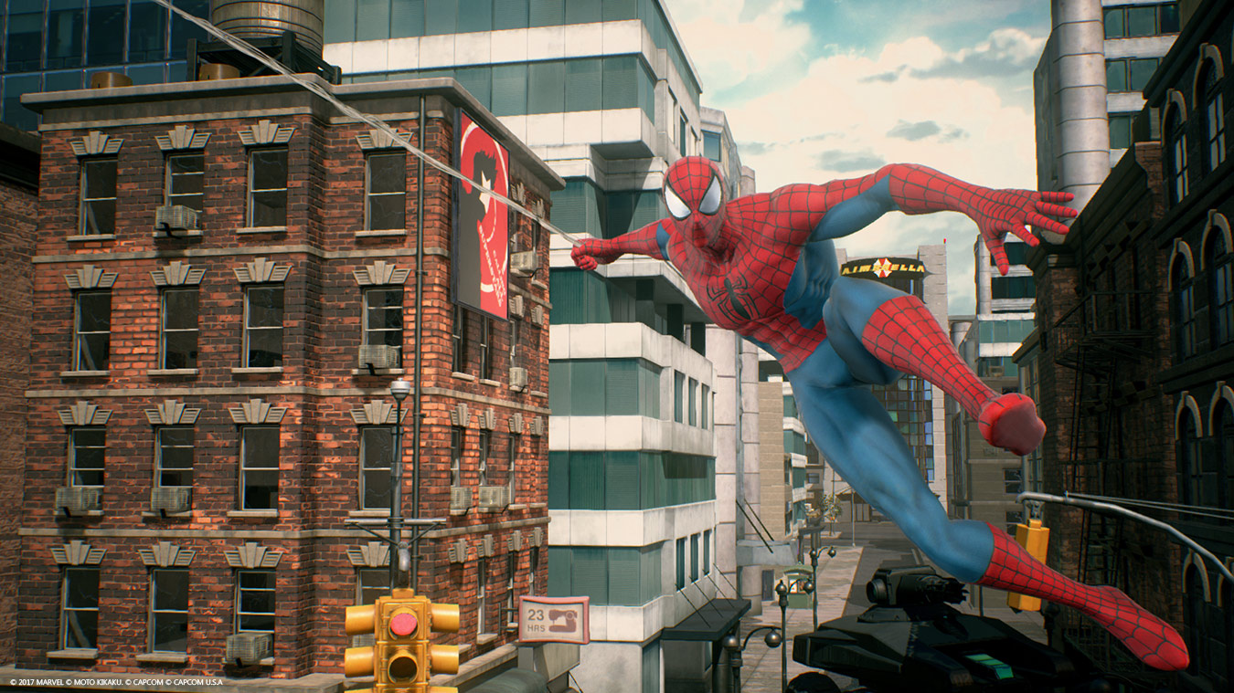Front view of Spider-man mid swing in city streets