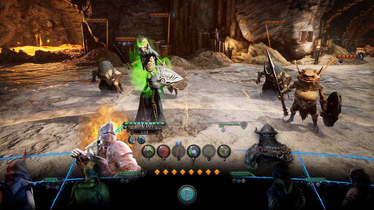 Vista Hud de monstruos peleando en una sala de piedra con lava