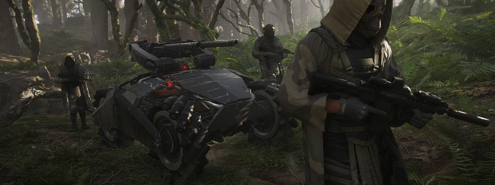Drei Charaktere mit Masken und Waffen eskortieren ein großes Militärfahrzeug