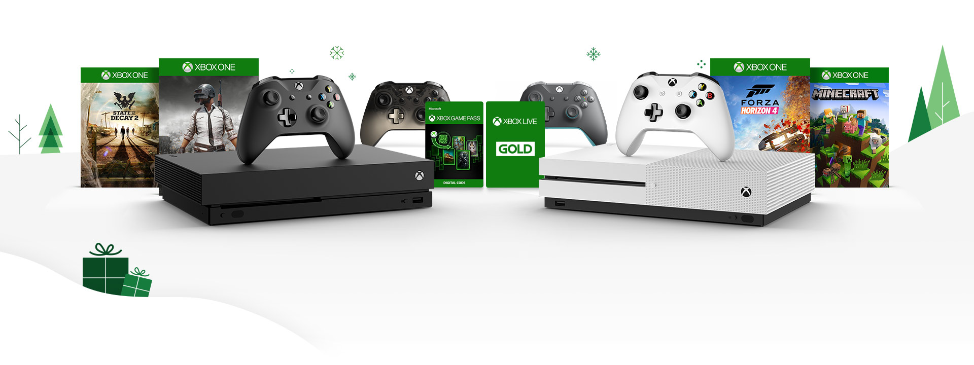 Front view of Xbox One X and Xbox One S, surrounded by State of Decay 2, PlayerUnknown Battleground, Forza Horizon 4 and Minecraft box shots and Xbox Wireless controllers