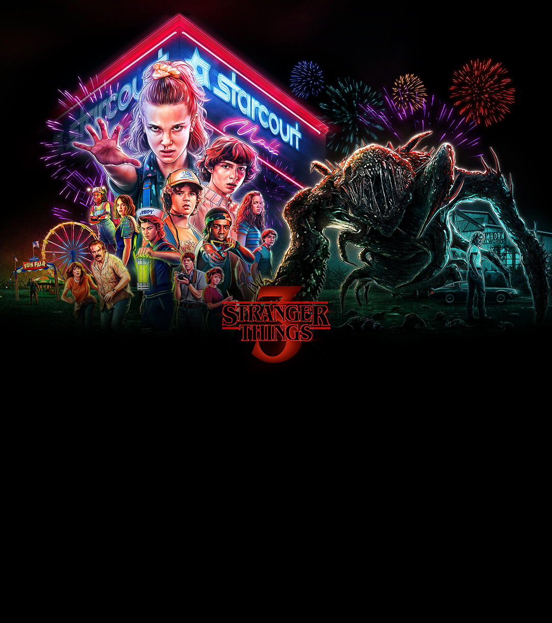 The key visual for season 3 of Stranger Things. It shows all the main characters in front of the Starcourt Mall, and features a carnival in the background